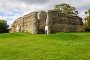 Walls of historic Walden Castle ruins, Saffron Walden, Essex, England, UK