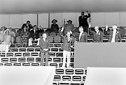 Henley on Thames,  United Kingdom, 1987 Henley Royal Regatta, Henley Reach, Thames Valley, British Summertime, left, Regatta Prize giver, Juan Antonio Samaranch y Tore, 1st Marquess of Samaranch, Right Regatta Chairman Peter CONI QC., and stewards, <br /> [Mandatory Credit, Peter SPURRIER/Intersport Images]