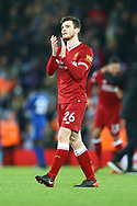 Andrew Robertson of Liverpool applauds the fans after the game. Premier League match, Liverpool v Leicester City at the Anfield stadium in Liverpool, Merseyside on Saturday 30th December 2017.<br /> pic by Chris Stading, Andrew Orchard sports photography.