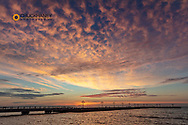 Vivid sunrise clouds over the Atlantic Ocean from Higgs Beach Pier in Key West,Florida, USA