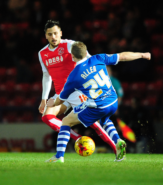 Fleetwood Town's Antoni Sarcevic vies for possession with Rochdale's Jamie Allen<br /> <br /> Photographer Chris Vaughan/CameraSport<br /> <br /> Football - The Football League Sky Bet League One - Rochdale v Fleetwood Town - Tuesday 23rd February 2016 - Scotland - Rochdale   <br /> <br /> © CameraSport - 43 Linden Ave. Countesthorpe. Leicester. England. LE8 5PG - Tel: +44 (0) 116 277 4147 - admin@camerasport.com - www.camerasport.com