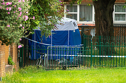© Licensed to London News Pictures. 04/07/2020. London, UK. A forensic tent with police cordon tape around it on Westbourne Estate in Islington. Metropolitan Police Service officers were called at 15:20BST on Saturday, 4 July to Roman Way N7 following reports of shots fired. Officers attended with London Ambulance Service (LAS) and found a man, believed to be aged in his early 20s, suffering from gunshot injuries. Despite their best efforts, he was pronounced dead at the scene. Photo credit: Peter Manning/LNP