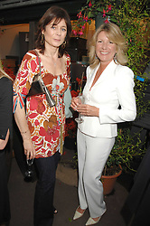 Left to right, LUCY HERVEY-BATHURST and CAROL BENNETT at a party for the Royal Marsden Hospital held at the Chelsea Gardener, Sydney Street, London on 6th May 2008.<br />