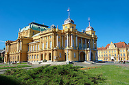 The Neo Baroque Croatian National Theatre,  Marshal Tito Square , Zagreb, Croatia .<br /> <br /> Visit our CROATIA HISTORIC SITES PHOTO COLLECTIONS for more photos to download or buy as wall art prints https://funkystock.photoshelter.com/gallery-collection/Pictures-Images-of-Croatia-Photos-of-Croatian-Historic-Landmark-Sites/C0000cY_V8uDo_ls
