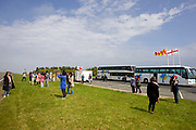 Tourists and coach groups take photos at the Scottish Borders on the 08th May 2011 at the Scottish Borders in the United Kingdom.