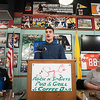 Miyamura High School Senior Ahmad Oweis speaks at the Rotary Club's Senior of the Month luncheon, Wednesday, Feb. 20 at Sammy C's in Gallup.