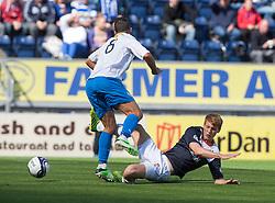 Morton's Doug Imrie tackled by Falkirk's Jay Fulton.<br /> Falkirk 3 v 1 Morton, Scottish Championship 17/8/2013.<br /> ©Michael Schofield.