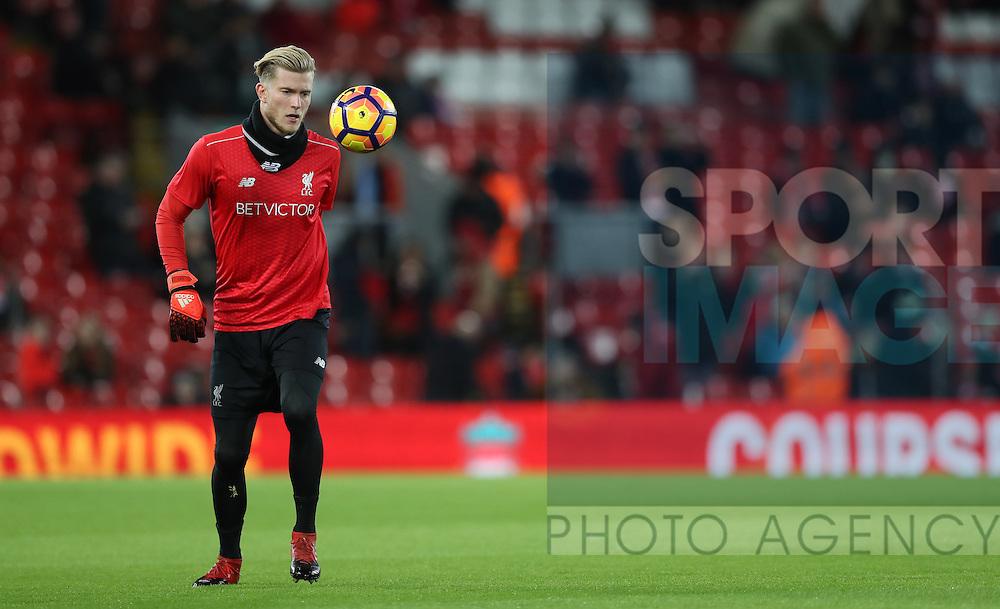 Loris Karius of Liverpool before the English Premier League match at Anfield Stadium, Liverpool. Picture date: December 31st, 2016. Photo credit should read: Lynne Cameron/Sportimage