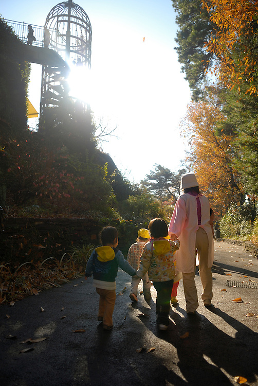 Children from a local nursery take a stroll through the museum grounds. Miyazaki designed the museum specially for children. The Ghibli Museum in Mitaka, western Tokyo opened in 2001. It was designed by animator Miyazaki Hayao and receives around 650,500 visitors each year.
