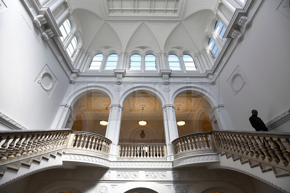 © Licensed to London News Pictures. 14/05/2018. LONDON, UK. General view of the restored interior at a photocall for the opening of the new Royal Academy of Arts (RA) in Piccadilly.  As part of the celebrations for its 250th anniversary year, redevelopment has seen the RA's two buildings, 6 Burlington Gardens and Burlington House, united into one extended campus and art space extending from Piccadilly to Mayfair.  Photo credit: Stephen Chung/LNP