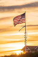 American Flag Blowing in the wind. Dune Deck Beach Club,  Dune Road, <br /> Westhampton Beach, NY