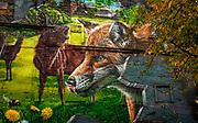 Fox and deer mural, Glasgow, Scotland