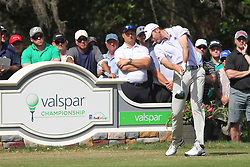 March 11, 2018 - Palm Harbor, FL, U.S. - PALM HARBOR, FL - MARCH 11: Sam Burns tees off on the 11th hole during the final round of the Valspar Championship on March 11, 2018, at Westin Innisbrook-Copperhead Course in Palm Harbor, FL. (Photo by Cliff Welch/Icon Sportswire) (Credit Image: © Cliff Welch/Icon SMI via ZUMA Press)