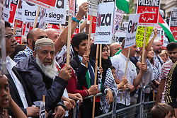 London, August 1st 2014. Thousands of Palestinians and their supporters protest in London outside the Israeli Embassy following the collapse of the 72 hour ceasefire in the ongoing conflict as Israel's Operation Protective Edge in Gaza seeks to eradicate Hamas tunnels and stop rocket attacks.