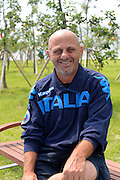 Chungju, South Korea. Giuseppe DI CAPUA, Former, cox to the ITA M2+ Bow, Carmine ABBAGNALE and Stroke Giuseppe ABBAGNALE. World and Olympic champions in the men's Coxed pair. Photographed at the 2013 FISA World Rowing Championships, Tangeum Lake, International Regatta Course,working with the Italian Adaptive Squard.  Tuesday  27/08/2013 [Mandatory Credit. Peter Spurrier/Intersport Images]