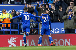 March 9, 2019 - Leicester, Leicestershire, United Kingdom - Youri Tielemans of Leicester City celebrates with Jamie Vardy of Leicester City after scoring the opening goal during the Premier League match between Leicester City and Fulham at the King Power Stadium, Leicester on Saturday 9th March 2019. (Credit Image: © Mi News/NurPhoto via ZUMA Press)