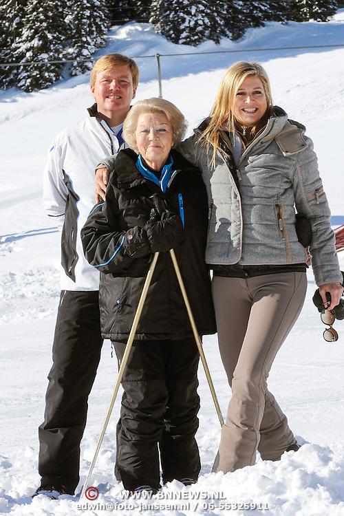 Fotosessie met de koninklijke familie in Lech /// Photoshoot with the Dutch royal family in Lech ...Op de foto / On the photo: Prinses Maxima, Prins Willem Alexander met Koningin Beatrix /////  Princess Maxima, Crown Prince Willem Alexander with Queen Beatrix