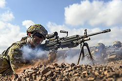May 2, 2017 - Arta, Djibouti, Africa - Gun Smoke. Army Pvt. MICHAEL ROJAS fires an M249 light machine gun during small arms training in Arta, Djibouti, May 2, 2017. Rojas is assigned to Combined Joint Task Force Horn of Africa's East African Response Force. Air Force photo by Staff Sgt. Nicholas M. Byers. (Credit Image: © Nicholas M. Byers/Air Force/DoD via ZUMA Wire/ZUMAPRESS.com)