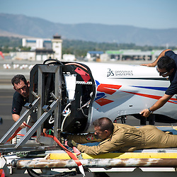 Démontage, puis chargement de l'avion de course français Big Frog dans un C-135 de l'Armée de l'Air pour son convoyage aux Etats-Unis à l'occasion des Reno Air Races.<br /> Août 2011 / Istres - Boston - Reno / FRANCE - USA<br /> Cliquez ci-dessous pour voir le reportage complet (184 photos) en accès réservé<br /> http://sandrachenugodefroy.photoshelter.com/gallery/2011-08-Convoyage-du-Big-Frog-a-Reno-a-bord-dun-C135-FR-de-larmee-de-lair-Complet/G0000uX2stnPIylA/C0000yuz5WpdBLSQ