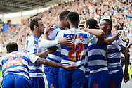 Reading midfielder Daniel Williams celebrates with team mates after scoring first goal during the Sky Bet Championship match between Reading and Middlesbrough at the Madejski Stadium, Reading, England on 3 October 2015. Photo by Alan Franklin.