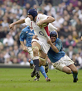 Twickenham, Surrey, 9th March2003, Six nations International Rugby,  RFU Stadium, England, [Mandatory Credit; Peter Spurrier/Intersport Images]<br /> Photo Peter Spurrier<br /> 09/03/2003<br /> RBS Six Nations Rugby England v Italy<br /> Danny Grewcock charges from the break away.
