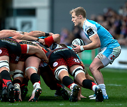 Aled Davies of Ospreys puts in to the scrum<br /> <br /> Photographer Simon King/Replay Images<br /> <br /> Guinness PRO14 Round 12 - Dragons v Ospreys - Sunday 30th December 2018 - Rodney Parade - Newport<br /> <br /> World Copyright © Replay Images . All rights reserved. info@replayimages.co.uk - http://replayimages.co.uk
