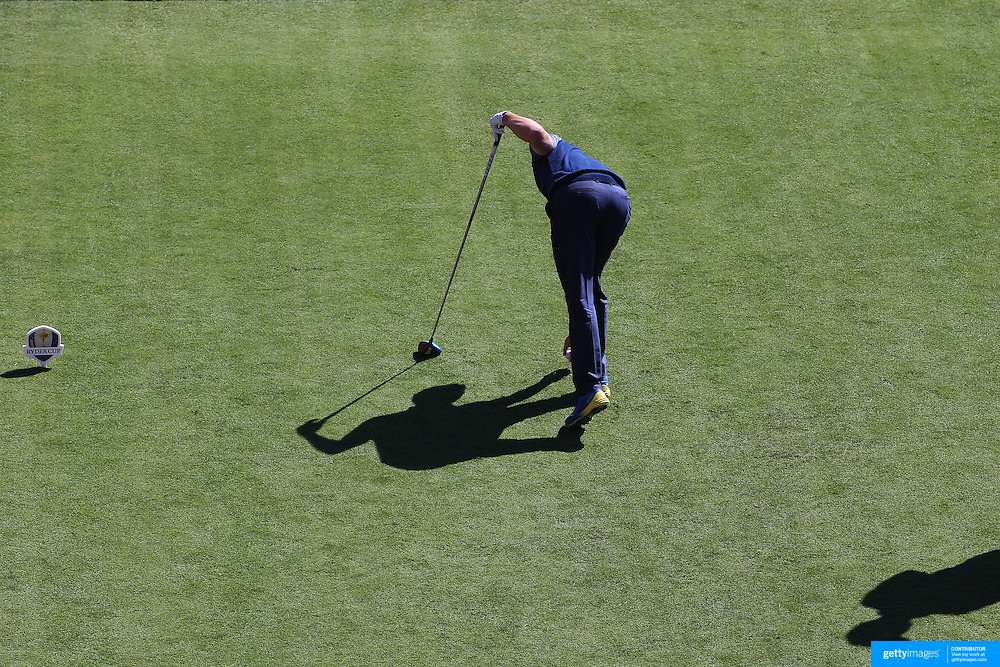 Ryder Cup 2016. Day One. Rory McIloy of Europe places his ball before teeing off at the first hole in the Friday afternoon four-ball competition during the Ryder Cup at Hazeltine National Golf Club on September 30, 2016 in Chaska, Minnesota.  (Photo by Tim Clayton/Corbis via Getty Images)