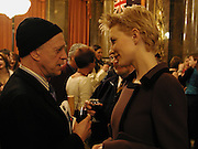 Australian actor, Trader Faulkner talking to Cate Blanchett. Gala Event: Better Than Sex. Reception after Cate Blanchett opened the 7 Australian Film Festival at Barbican Screen. Australian High Commission. © Copyright Photograph by Dafydd Jones 66 Stockwell Park Rd. London SW9 0DA Tel 020 7733 0108 www.dafjones.com