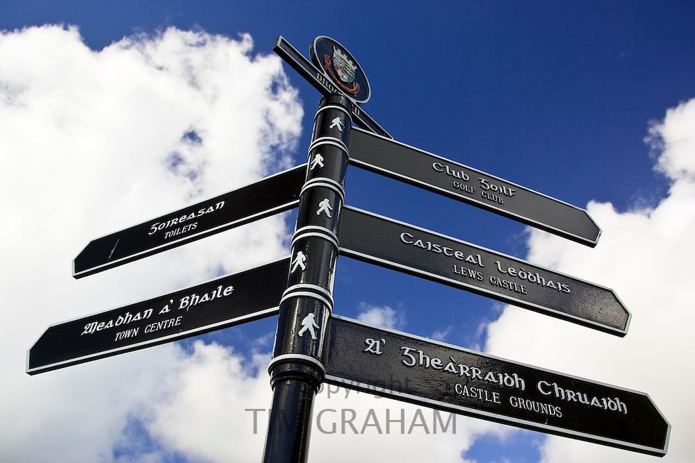 Bilingual road sign English and Scottish Gaelic directions, Stornoway, Outer Hebrides, UK