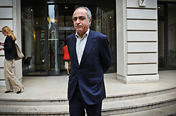"""File photo - Franco-Lebanese Ziad Takieddine, flanked by his lawyer, Ludovic Landivau leaving the Paris financial crimes court on October 5, 2011, after his hearing. Takieddine, who was intermediaire sales of submarines to Pakistan and is charged for fraud and corruption in the financial aspect of """"Karachi's case"""", asked France's president Nicolas Sarkozy to remove the secrecy for national security reasons on French weapons sales contracts to Pakistan and Saudi Arabia in the 90's, he told BFM TV French TV network on September 29, 2011. Former French President Nicolas Sarkozy was in police custody on Tuesday morning March 20, 2018, an official in the country's judiciary said. He was to be questioned as part of an investigation into suspected irregularities over his election campaign financing, the same source added. The probe related to alleged Libyan funding for Sarkozy's 2007 campaign, Le Monde newspaper reported. Photo by Mousse/ABACAPRESS.COM"""