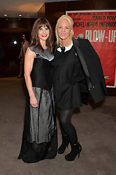 """Left to right, JUSTINE FRANCESCA GLENTON and AMANDA ELIASCH at a private screening Of """"The Gun, The Cake and The Butterfly"""" hosted by Amanda Eliasch at The Bulgari Hotel, 171 Knightsbridge, London on 24th March 2014."""