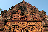 Banteay Srei or Banteay Srey is a 10th century Cambodian temple dedicated to the Hindu god Shiva.  The temple is mainly built  of red sandstone - a material that lends itself to elaborate and decorative carvings which can still be seen today.