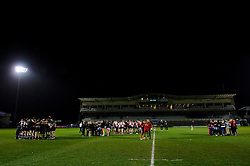 The Mens and Womens sides from both univerities huddle before the trophy presentation after the Mens match finishes Bristol 28-12 UWE - Photo mandatory by-line: Rogan Thomson/JMP - Tel: Mobile: 07966 386802 - 29/04/2013 - SPORT - RUGBY - Memorial Stadium - Bristol. University of Bristol v University of the West of England - 2013 edition of the annual Rugby Union University Varsity match in Bristol.
