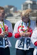 "Rio de Janeiro. BRAZIL   Women's Eights Final. Silver Medalist GBR W8+. Bow. Katie<br /> GREVES, Melanie  WILSON, Frances HOUGHTON, Polly  SWANN,  Jessica EDDIE,  Olivia CARNEGIE-BROWN, Karen BENNETT, Zoe LEE and  Zoe DE TOLEDO, 2016 Olympic Rowing Regatta. Lagoa Stadium, Copacabana,  ""Olympic Summer Games""<br /> Rodrigo de Freitas Lagoon, Lagoa. Local Time 11:48:49  Saturday  13/08/2016<br /> [Mandatory Credit; Peter SPURRIER/Intersport Images]"