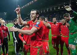 ZENICA, BOSNIA & HERZEGOVINA - Saturday, October 10, 2015: Wales Gareth Bale celebrates after securing a place at next years Euro Championships after the Bosnia & Herzegovina vs Wales match at the Stadion Bilino Polje during the UEFA Euro 2016 qualifying Group B match. (Pic by Peter Powell/Propaganda)