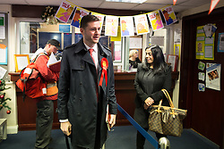 © Licensed to London News Pictures . 01/12/2015 . Oldham , UK . Candidate JIM MCMAHON at Royton Medical Centre in Oldham , as part of Labour's campaign for the seat of Oldham West and Royton , following the death of sitting MP Michael Meacher . Photo credit : Joel Goodman/LNP