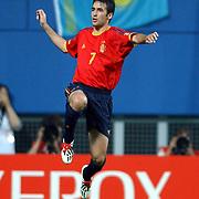 Spain's Raul celebrates scoring Spain's third goal
