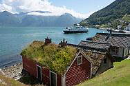 A ferry leaving the village of Utne on Hardanger Fjord, Vestlandet, Norway