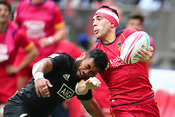 March 9, 2019 - Vancouver, BC, U.S. - VANCOUVER, BC - MARCH 09:  Joan Losada (9)  of Spain fends off a tackle by Fiji during day 1 of the 2019 Canada Sevens Rugby Tournament on March 9, 2019 at BC Place in Vancouver, British Columbia, Canada. (Photo by Devin Manky/Icon Sportswire) (Credit Image: © Devin Manky/Icon SMI via ZUMA Press)