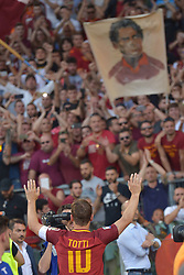 As Roma vs Genoa as part of Series A at the Stadio Olimpico in Rome, Italy. 28 May 2017 Pictured: Francesco Totti waves the fans saluto ai tifosi Last Match of Francesco Totti. Ultima Partita di Francesco Totti. Photo credit: Insidefoto / MEGA TheMegaAgency.com +1 888 505 6342