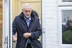 April 28, 2018 - London, London, United Kingdom - London, UK. Labour Leader JEREMY CORBYN leaves his home on Saturday April 28, 2018. A Sunday Times newspaper investigation has found that Russian Twitter 'bots' attempted to influence election by supporting Jeremy Corbyn. (Credit Image: © Rob Pinney/London News Pictures via ZUMA Wire)