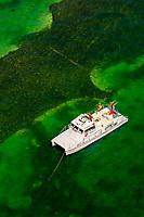 Aerial view of fishing boat, Florida Keys, Florida USA