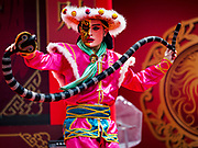 16 FEBRUARY 2018 - BANGKOK, THAILAND: A man dances with a carved cobra during Chinese New Year celebrations in the Chinatown neighborhood of Bangkok. Thailand has a large Chinese community and Lunar New Year is widely celebrated, especially in larger cities. This will be the Year of the Dog.      PHOTO BY JACK KURTZ