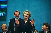Ex-Prime Minister Margaret Thatcher receives applause after her Brighton conference speech 2 years after being deposed. Thatcher died on April 8th 2013 after suffering a stroke while staying in the Ritz Hotel, London.