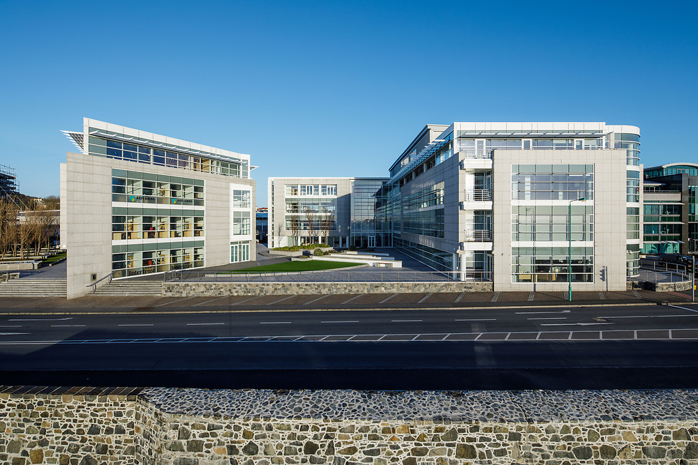 Martello Court business and finance office buildings on the waterfront in St Peter Port, Guernsey, CI