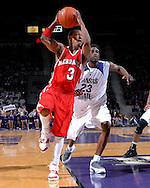 Nebraska guard Charles Richardson Jr. (3) drives to the basket past Kansas State's Jermaine Maybank (23), during the first half at Bramlage Coliseum in Manhattan, Kansas, January 27, 2007.  K-State beat Nebraska 61-45.