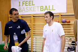 Mirza Begic and Matjaz Smodis during practice session of Slovenian National Basketball team during training camp for Eurobasket Lithuania 2011, on July 12, 2011, in Arena Vitranc, Kranjska Gora, Slovenia. (Photo by Vid Ponikvar / Sportida)