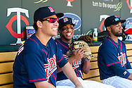 Minnesota Twins right fielder Ben Revere laughs with teammate Danny Valencia before a game against the Cleveland Indians at Target Field in Minneapolis, Minnesota on July 29, 2012.  The Twins defeated the Indians 5 to 1.  © 2012 Ben Krause