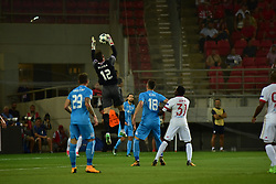August 16, 2017 - Piraeus, Attiki, Greece - Simon Sluga (no 12) goalkeeper of HNK Rijeka catch the ball after an attact effort of Olympiacos..Olympiacos manage to win 2-1 against HNK Rijeka in the first game for the UEFA Champions League play-offs, despite the fact that HNK Rijeka has achieved goal first. After this match the attention of the both team is going to focus to the rematch. (Credit Image: © Dimitrios Karvountzis/Pacific Press via ZUMA Wire)