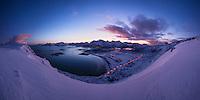 Panoramic winter view over Ytresand beach, Moskenesøy, Lofoten Islands, Norway